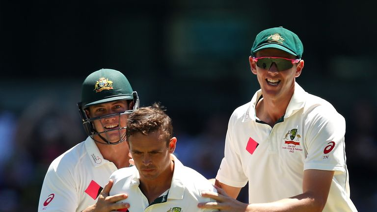 Josh Hazelwood and Steven O'Keefe (middle) took three wickets apiece