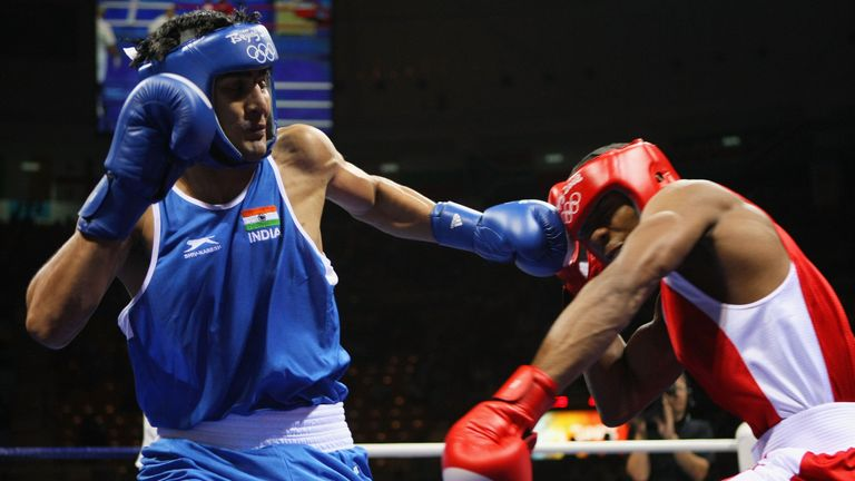 Gambia's Badou Jack (red) lost to India's Vijender Singh in the 2008 Olympics