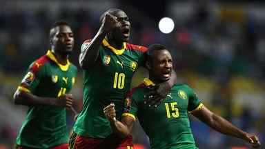 Cameroon's midfielder Sebastien Siani celebrates his equaliser against Guinea-Bissau