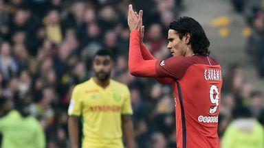 PSG's Edinson Cavani celebrates after scoring against Nantes