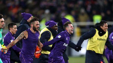Fiorentina celebrate their victory over Juventus