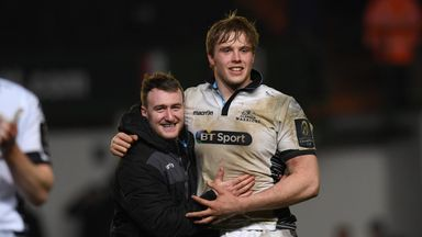 Jonny Gray (right) and Stuart Hogg will lead the charge for Glasgow against Saracens