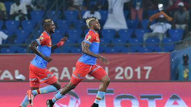 Democratic Republic of the Congo's forward Junior Kabananga (R) celebrates with midfielder Merveille Bokadi