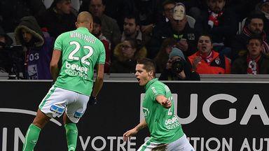 Saint-Etienne midfielder Romain Hamouma (R) celebrates with Kevin Monnet-Paquet