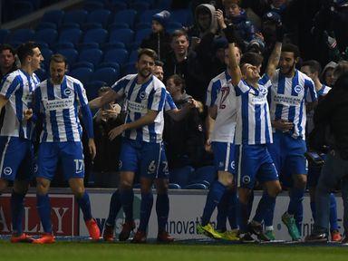 Anthony Knockaert celebrates after scoring for Brighton