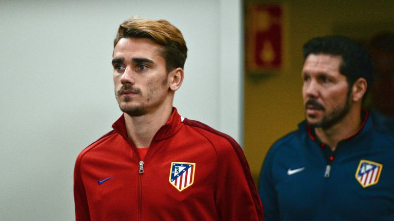 Diego Simeone (right) says Antoine Griezmann is attracting interest from 'the ones who can afford him'
