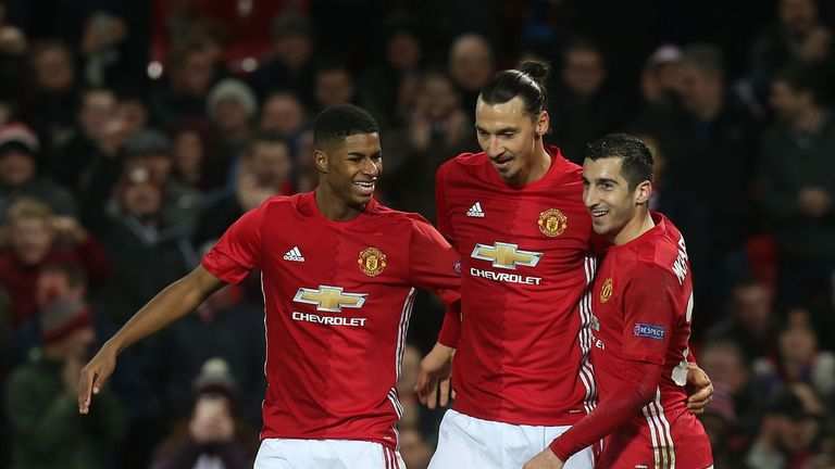 during the UEFA Europa League match between Manchester United FC and Feyenoord at Old Trafford on November 24, 2016 in Manchester, England.