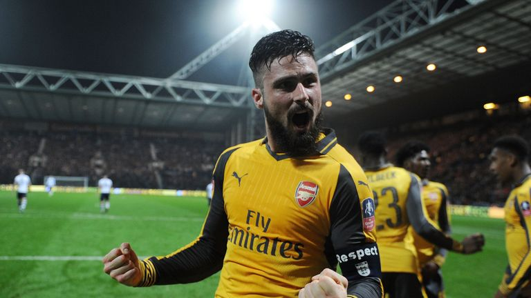 Olivier Giroud was named captain for the game by manager Arsene Wenger