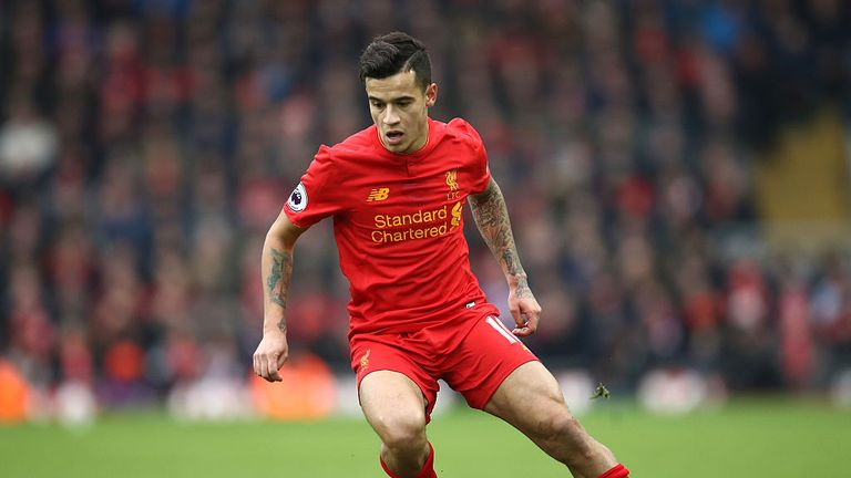 Philippe Coutinho of Liverpool in action during the Premier League match between Liverpool and Swansea City at Anfield on Jan 21