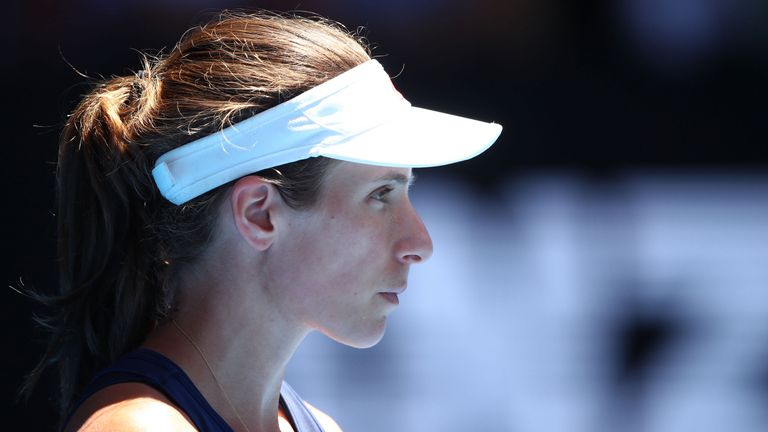 Johanna Konta looks on in her Australian Open quarter final match against Serena Williams