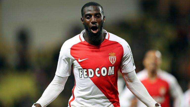 Monaco's French midfielder Tiemoue Bakayoko celebrates after scoring a goal during the French L1 football match between Monaco (ASM) and Caen (SMC) on Dece
