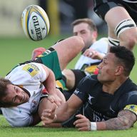 Sonatane Takulua (right) scored a hat-trick in Newcastle Falcons' high-scoring win over Northampton
