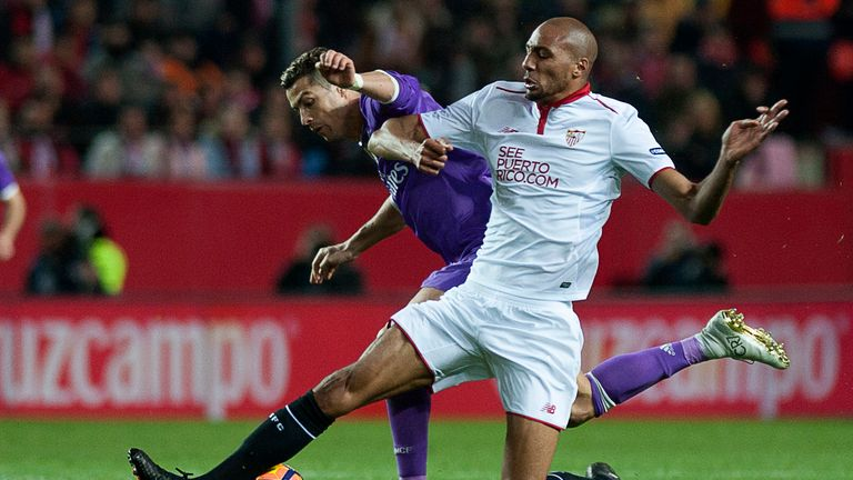 N'Zonzi tussles for the ball with Real Madrid's Cristiano Ronaldo