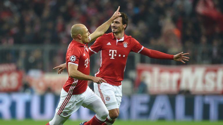 Bayern Munich's Arjen Robben celebrates after opening the scoring