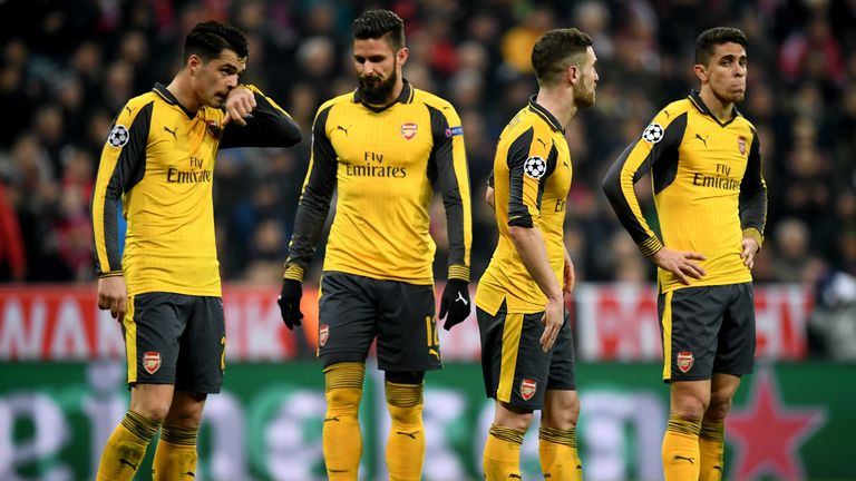 Arsenal conceded four goals in the second half against Bayern Munich