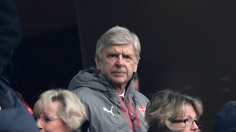 Arsene Wenger watches Arsenal's home clash with Hull City from the stands
