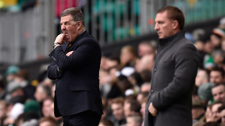 Motherwell manager Mark McGhee (L) and Celtic boss Brendan Rodgers (R) at Celtic Park