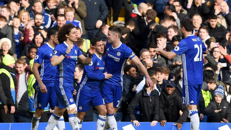 Chelsea's Eden Hazard (centre) celebrates with team-mates after scoring his team's second goal