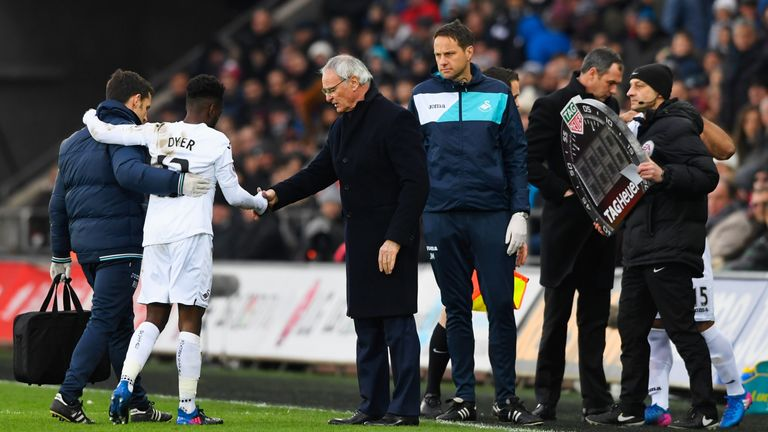 Nathan Dyer was replaced after just four minutes with a non-contact injury