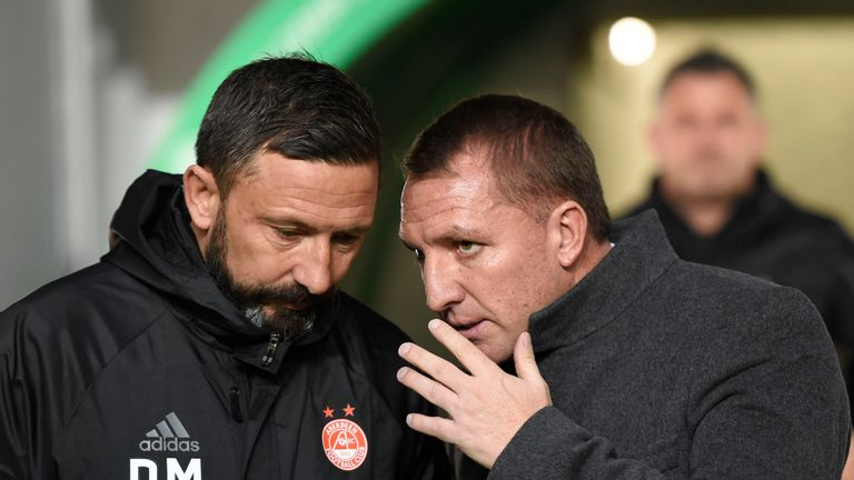 Derek McInnes and Brendan Rodgers before the game at Celtic Park