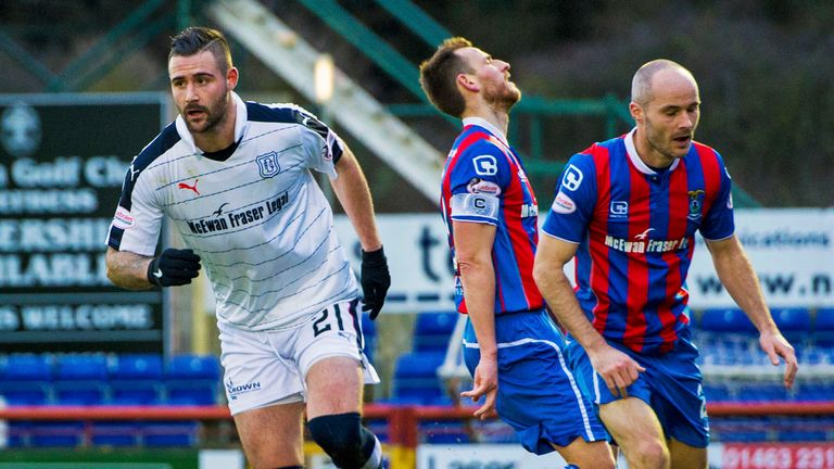 Dundee's Marcus Haber will try to trouble the Ross County defence