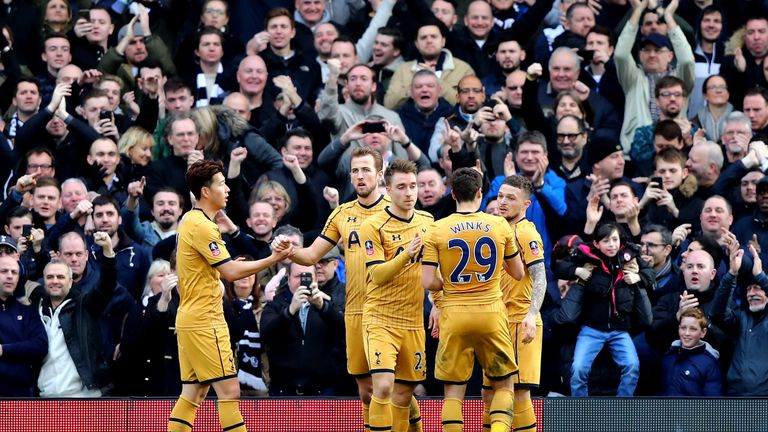 Kane celebrates his second goal with Tottenham team-mates