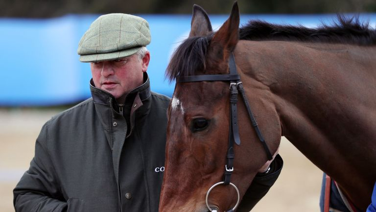 Colin Tizzard with Cue Card at his yard last week