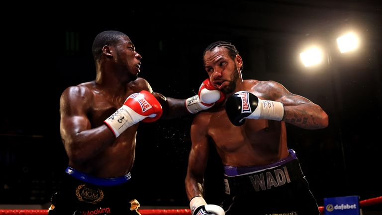 Isaac Chamberlain (left) overcame a dislocated shoulder to defeat Wadi Camacho