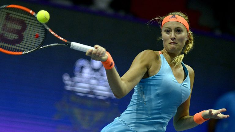 Kristina Mladenovic (pictured) and Elina Vesnina have both progressed to the Indian Wells semi-finals