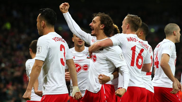 Manolo Gabbiadini is congratulated after scoring against Man Utd in February's EFL Cup final