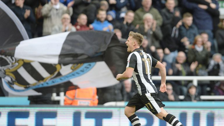 Newcastle United's Matt Ritchie celebrates after scoring