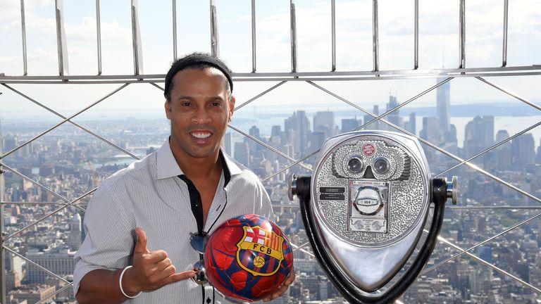 Ronaldinho attended the September opening of Barcelona's office in New York