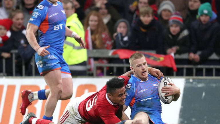 Johnny McNicholl scored a try in Scarlets' 30-21 win over Munster last week