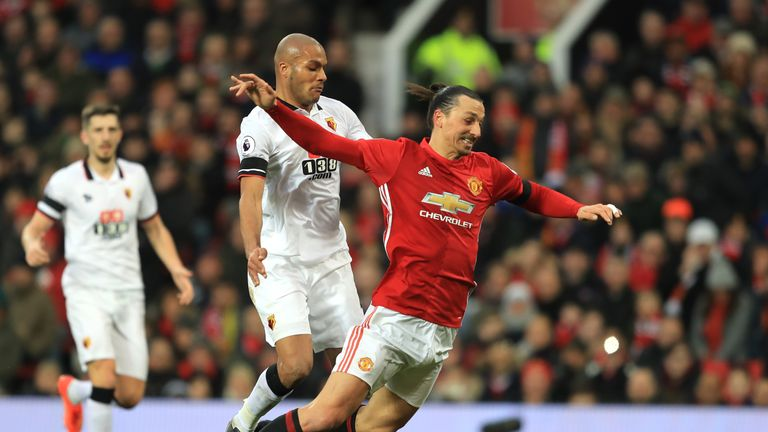 Zlatan Ibrahimovic tumbles under pressure from Watford's Younes Kaboul