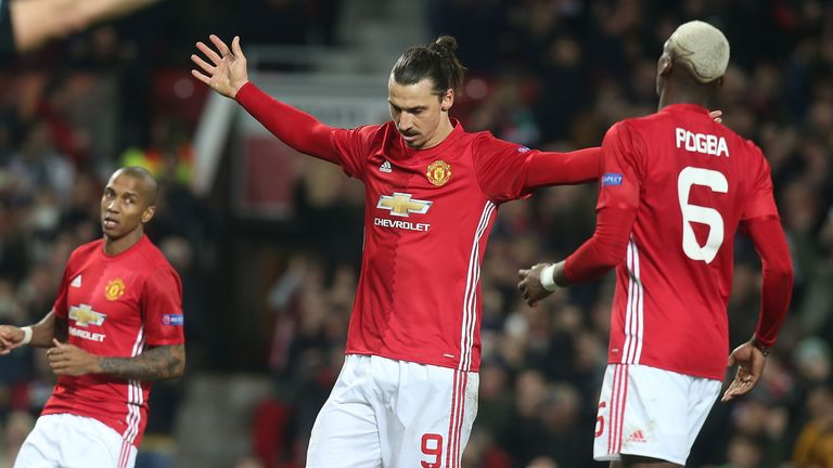 Ibrahimovic celebrates one of his three goals on Thursday night