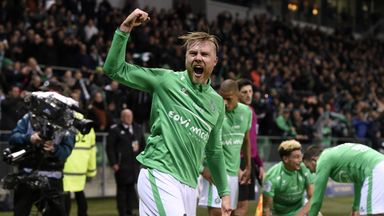 Alexander Soderlund celebrates after St Etienne's dramatic victory over Lyon