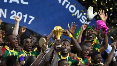 Cameroon celebrate after beating Egypt 2-1 to claim the 2017 Africa Cup of Nations