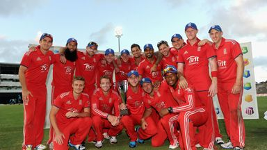 England celebrate after winning the ODI series against the West Indies in 2014