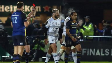 Francois Steyn (C) was shown a red card for a dangerous tackle on Leinster's Johnny Sexton