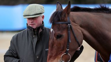 Colin Tizzard with Cue Card at his yard on Thursday