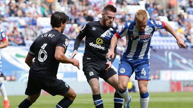 Jack Byrne (centre) in action for Blackburn Rovers against Wigan Athletic earlier in the season