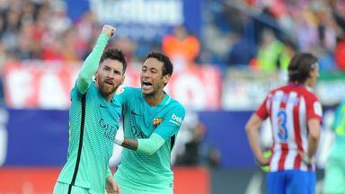 Lionel Messi celebrates his late winner against Atletico