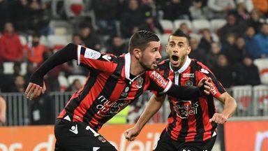 Mickael Le Bihan (L) celebrates after scoring for Nice