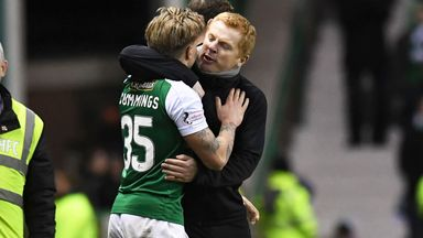 Hibernian boss Neil Lennon congratulates Jason Cummings at full-time
