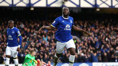 Romelu Lukaku celebrates scoring for Everton which equalled a club record