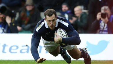 Tim Visser scores Scotland's second try against Wales