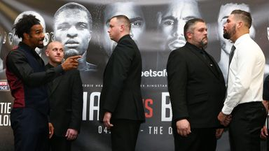 Security separated David Haye (L) and Tony Bellew (R) during their press conference