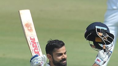 Virat Kohli celebrates his record fourth double hundred in as many series, against Bangladesh
