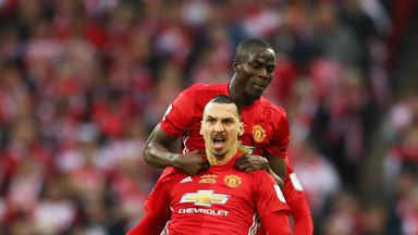Zlatan Ibrahimovic celebrates with Eric Bailly after giving Manchester United a 1-0 lead in the EFL Cup final