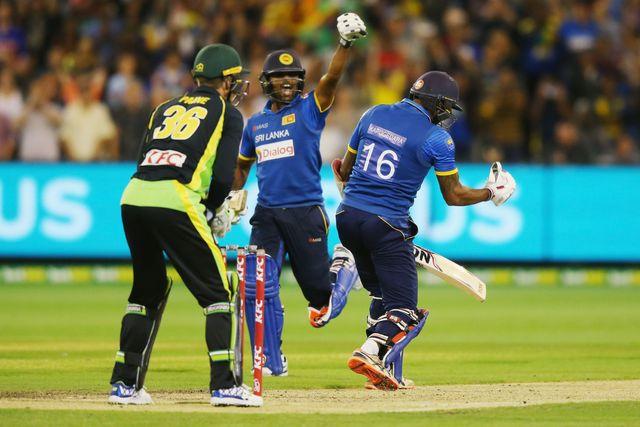 Seekkuge Prasanna celebrates  after Chamara Kapugedera hits the winning runs